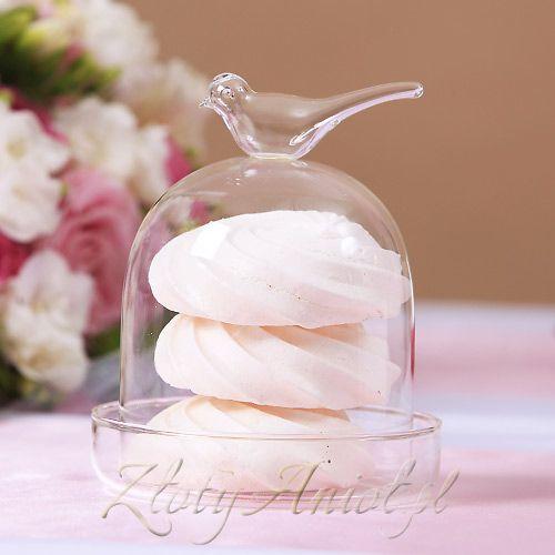 PATERKA szklana na ciastko z ptaszkiem