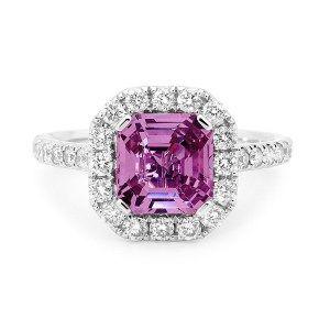 Square emerald cut pink sapphire 0805047 #LoveDI #diamond #Engagement #Ring #elegant #gold #halo #sparkle #pink #sapphire