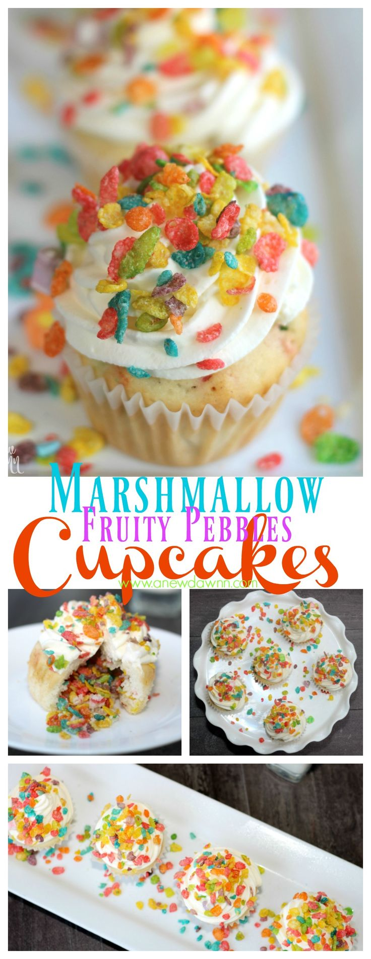 Enjoy #CerealAnytime with these delicious Marshmallow Fruity Pebble Cupcakes #ad