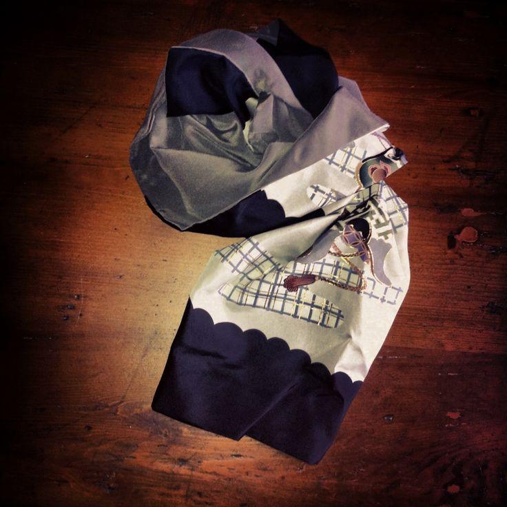 silk scarf made by vintage kimono