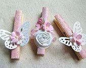 Items similar to Pink butterflies and flowers washi decorative clothespins set of 10 decorated clothes pins handmade paper flowers on Etsy