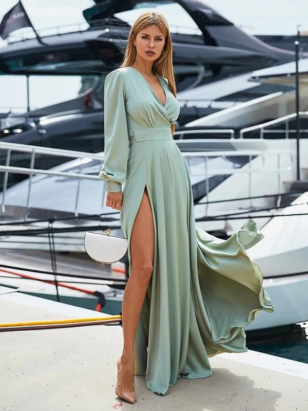 96d09952fb7 V-neck Long Sleeves Solid Color Belted Maxi Evening Dress in 2019 ...