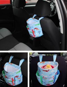 Car Basket - free pattern & tutorial, not in English but with the great pictures I think I could make this easily enough.