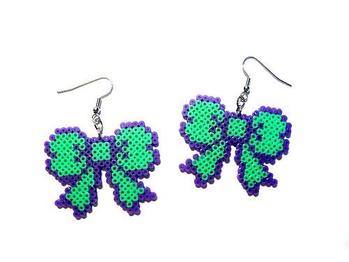 Mint And Purple hama Bow Earrings