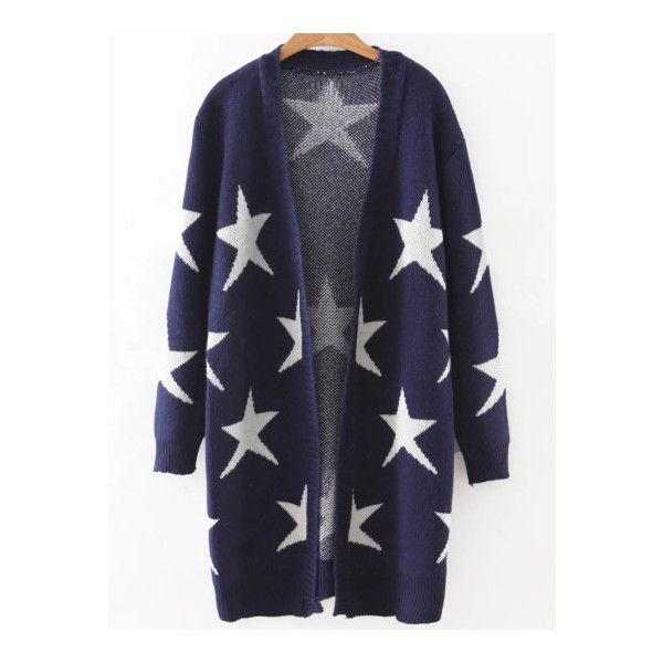 SheIn(sheinside) Navy Collarless Ribbed Trim Star Cardigan ($24) ❤ liked on Polyvore featuring tops, cardigans, navy blue, blue top, short-sleeve cardigan, blue cardigan, navy top and loose long sleeve tops