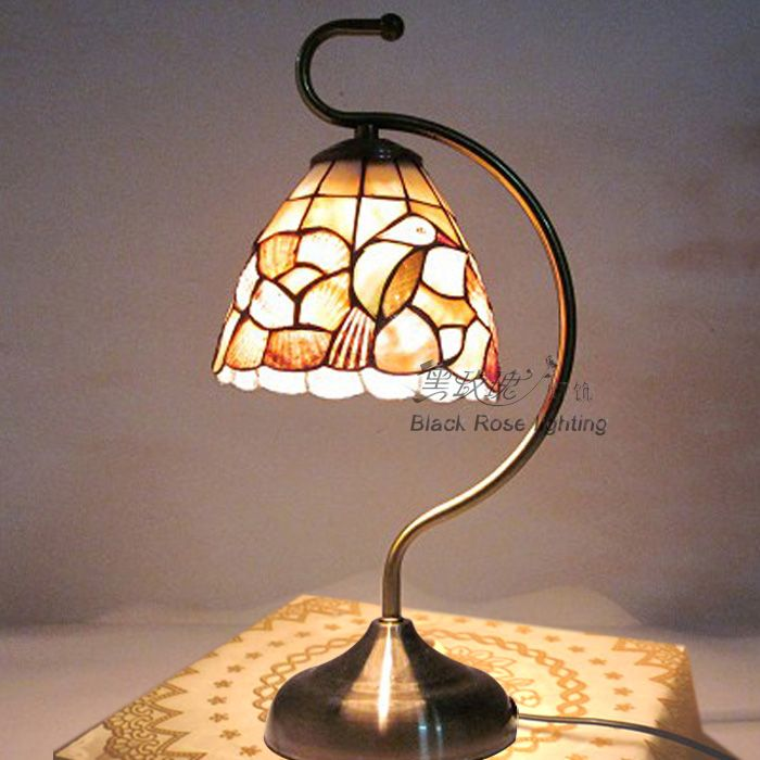 Fashion antique rustic parrot glass shade shell dimming small table lamp bedside lighting reading light Tiffany Mediterranean-inTable Lamps ...