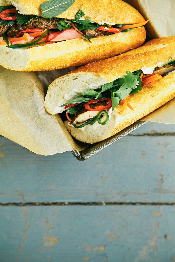 VEGAN BANH MI WITH PORTOBELLOS + PICKLED VEGETABLES