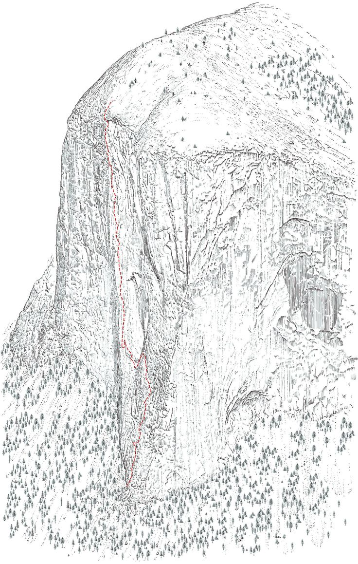 Freerider detail, El Capitan, Yosemite, California, print added to my shop: Topo line illustration of El Capitan detailing Freerider, Yosemite on A3 watercolour paper.