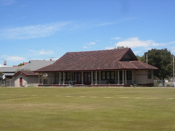The Williamstown Croquet Club pavilion, designed by Morsby & Coates and constructed in 1930, at 104 Victoria Street, Williamstown.