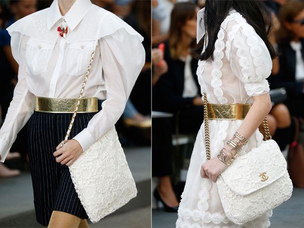 Белые кожаные сумки Шанель весна-лето 2015