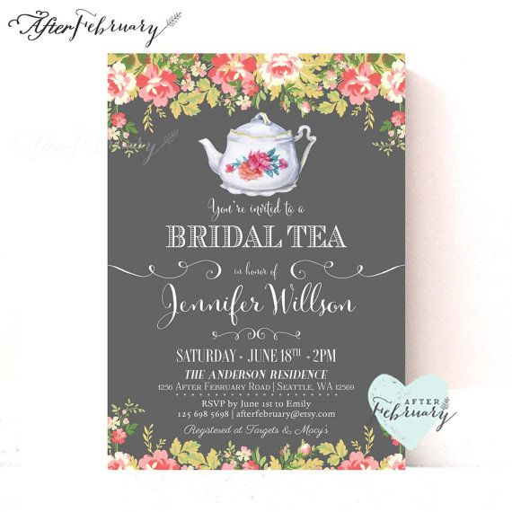 Bridal Shower Tea Party Invitations // Bridal by AfterFebruary