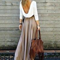 Wish | Women Splicing Draped Backless Maxi Dress