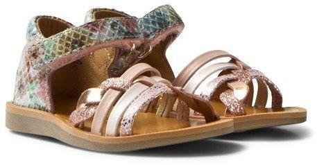 Pom D'Api Pom Dapi Pink Metallic Poppy Braided Sandals