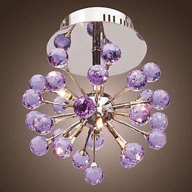 6-light Floral Shape K9 Crystal Ceiling Light-Purple (0942-98004-C-6P) – EUR € 65.99