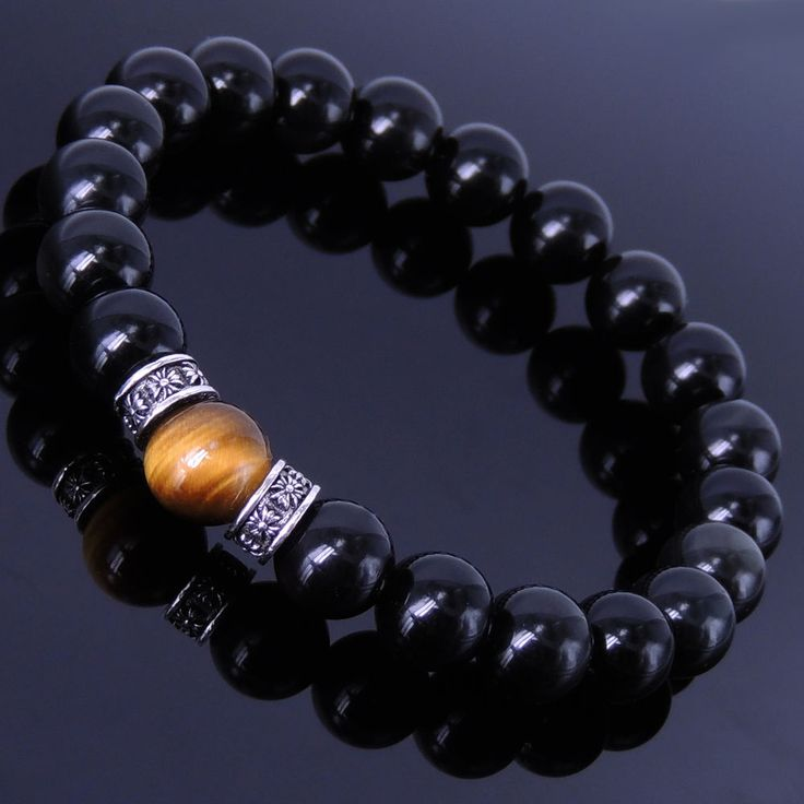 Men Women Gemstone Bracelet Obsidian Tiger 925 Eye Sterling Silver DIY-KAREN 163 #DIYKARENHandmade #MenWomenGemstoneSterlingSilverBracelet