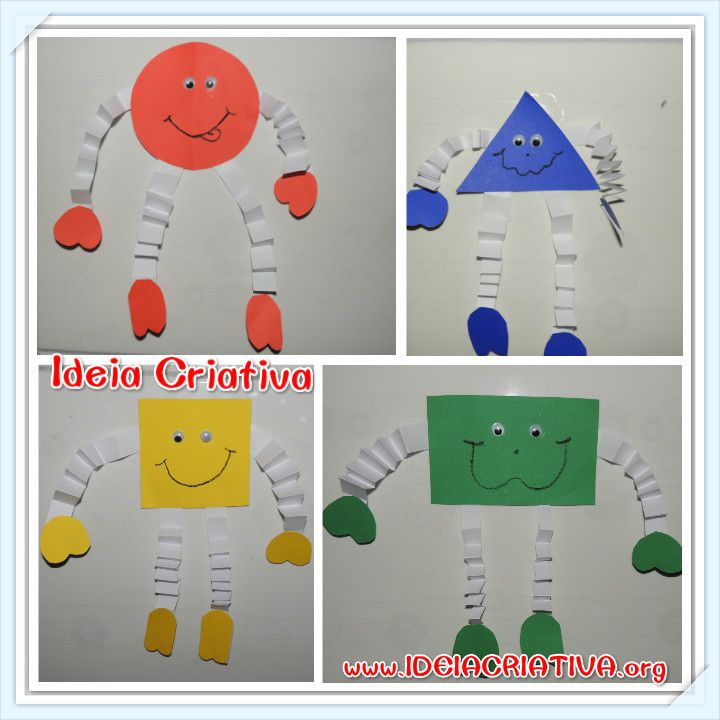 Bonequinhos de Formas Geométricas para colar na parede
