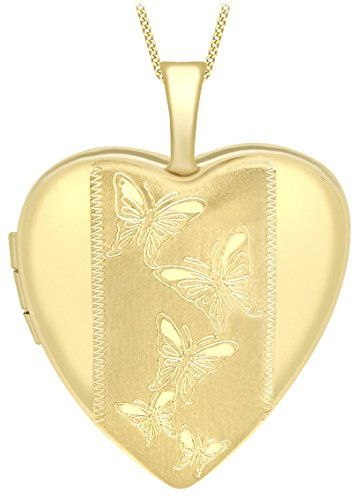 Carissima Gold 9 ct Yellow Gold Etched Butterfly Detail Heart Locket on Curb Chain of 46 cm/18 inch