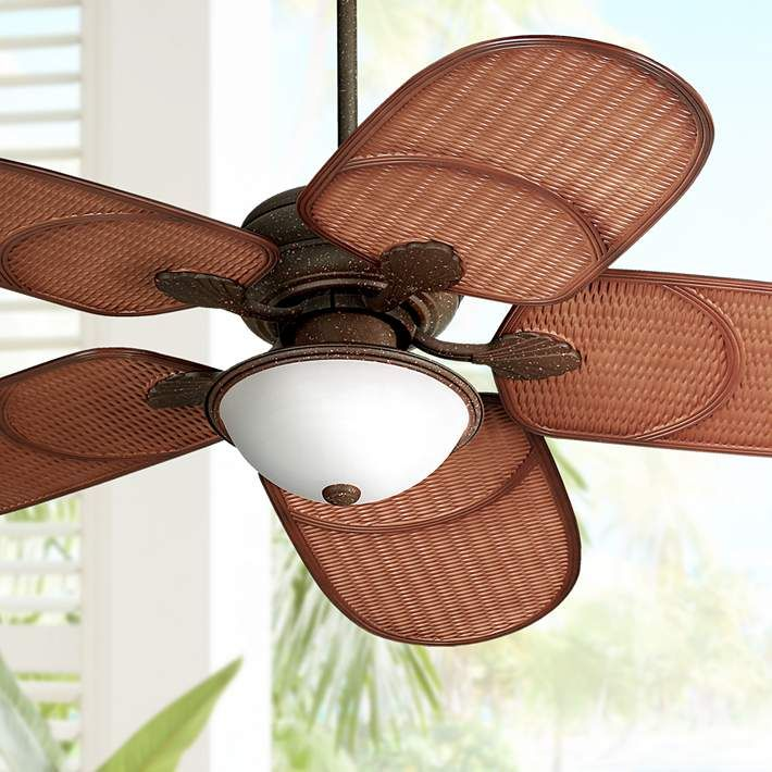 "52"" Casa Vieja Rattan Outdoor Tropical Ceiling Fan - #55999 