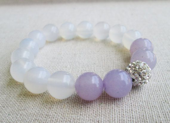 Prosperity - Beaded Stretch Bracelet - Amethyst, White Jade with Silver Pave Ball