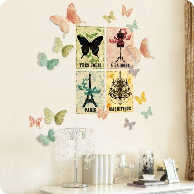 Girls Wall Decals | Glamour Girl Guad Butterfly Wall Decals And Stickers  For Teens Bedroom