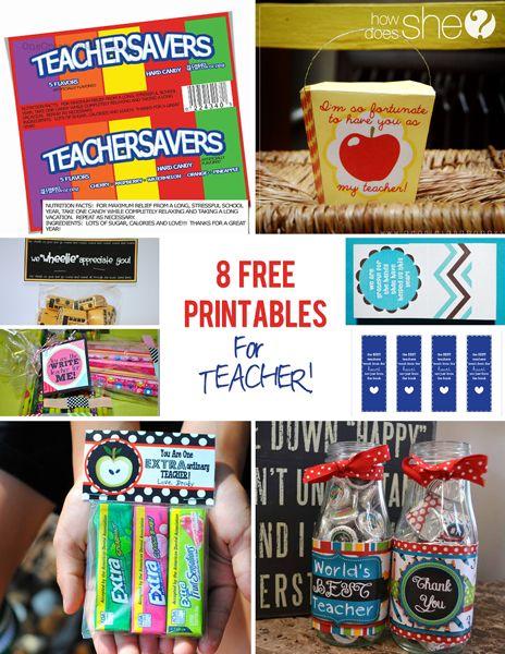 8 Free Teacher Appreciation Printables!