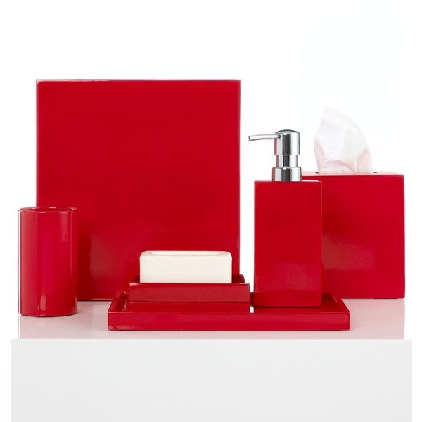 Jonathan Adler Bath Accessories Lacquer Vanity Tray (2.225 RUB) ❤ liked on Polyvore featuring home, bed & bath, bath, bath accessories, red, wooden bathroom accessories, jonathan adler, wood bathroom accessories, red bath accessories and contemporary bathroom accessories