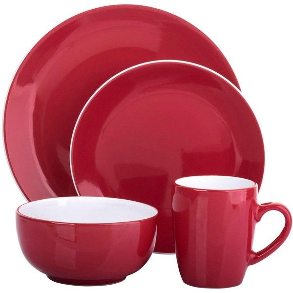 Two-Tone 16-Piece Dinner Set In Red And White (50 CAD) ❤ liked on Polyvore featuring home kitchen \u0026 dining dinnerware stoneware dinnerware red \u2026  sc 1 st  Pinterest & Two-Tone 16-Piece Dinner Set In Red And White (50 CAD) ❤ liked on ...