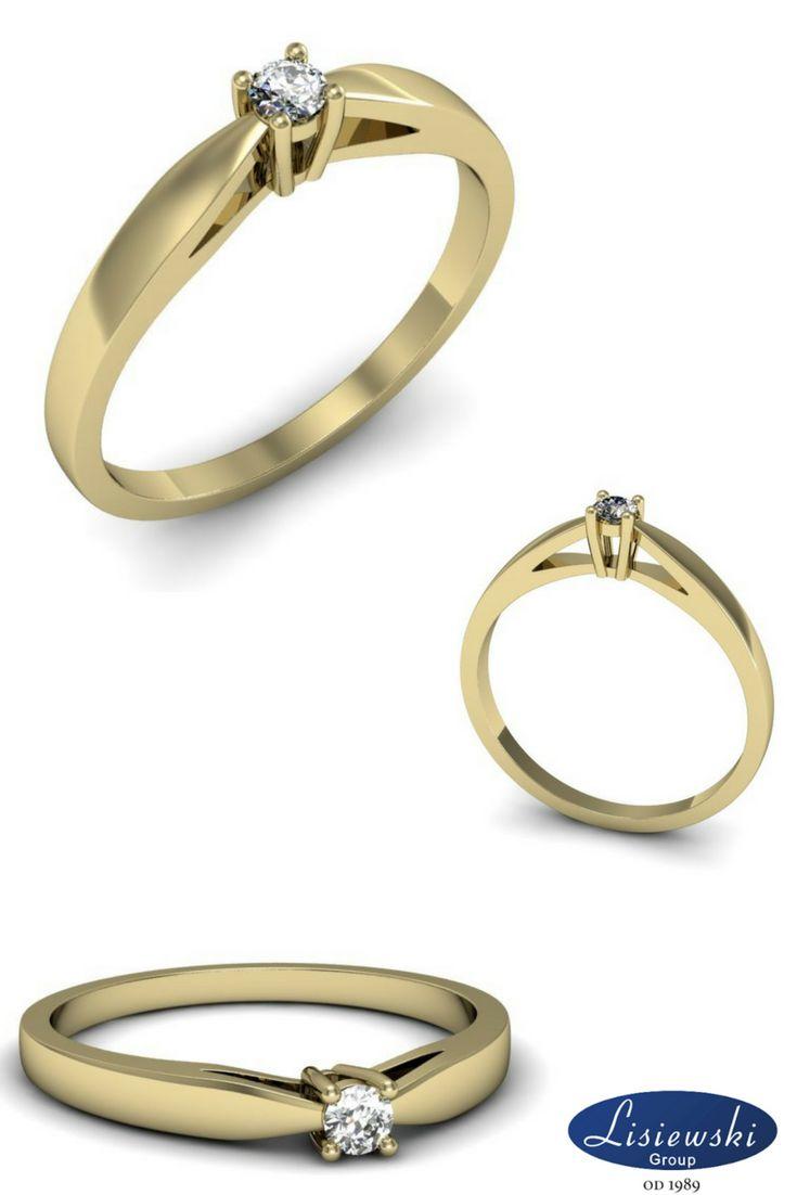 Delikatny złoty pierścionek z diamentem || Sweet golden ring with diamond #goldjewellery