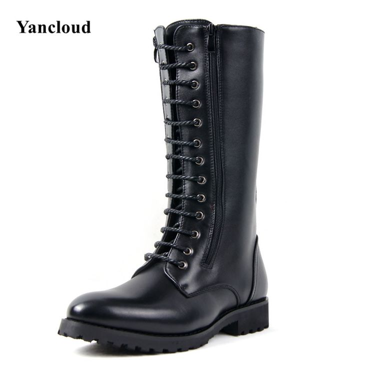Mens Riding Boots 2016 Winter Fashion Mid Calf Men Boots PU Martin Boots Male Long Military Boots Lace up Motorcycle Boots