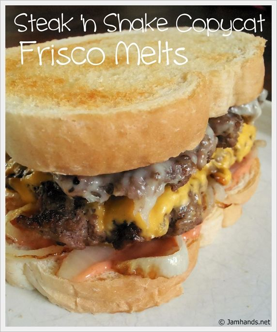 Steak 'n Shake Frisco Melts Copycat: 1 lb ground beef 8 slices sourdough bread 1 tablespoon butter 1/2 onion, sliced thin and caramelized (optional) 8 slices American cheese 4 slices Swiss cheese Frisco Sauce: 2 Tbsp. Thousand Island 1 Tbsp. Russian dressing
