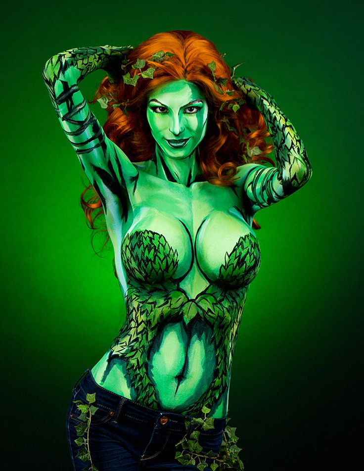 Time Lapse Video of Artist Painting a Poison Ivy Costume on Her Body at 1,000x Speed