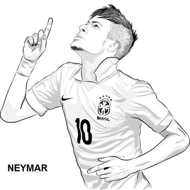 Neymar Para Colorir Com Imagens Desenho De Jogador De Futebol