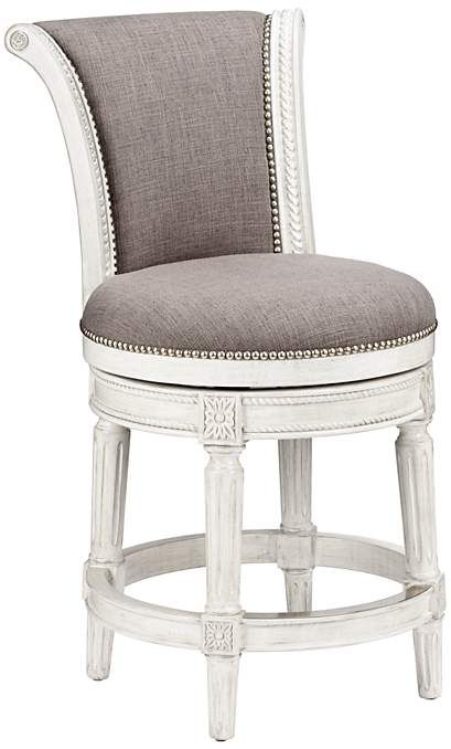 Chloe 24 Quot Pewter Fabric Scroll Back Swivel Counter Stool