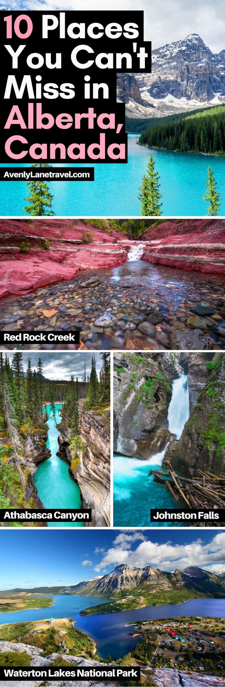 10 Amazing Things To See And Do In Alberta, Canada!  It is the perfect destination for the outdoorsy person.  There is so much to see there!  Including visiting the Columbia Icefields, Banff National Park, Lake Abraham, Lake Louise, Peyto Lake and much more! #avenlylanetravel #canada #travel