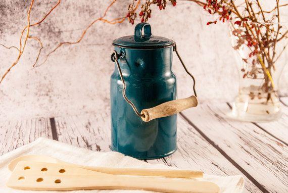 Rustic metal milk jug rustic milk can old by VintageEuropeDesign