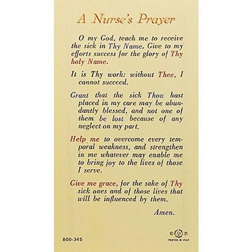 Madonna Praying - A Nurse's Prayer - Prayer Card   The Catholic Company