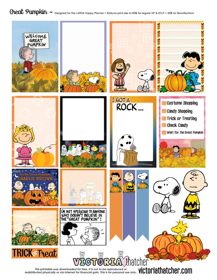 Free Printable The Great Pumpkin Planner Stickers from Victoria Thatcher