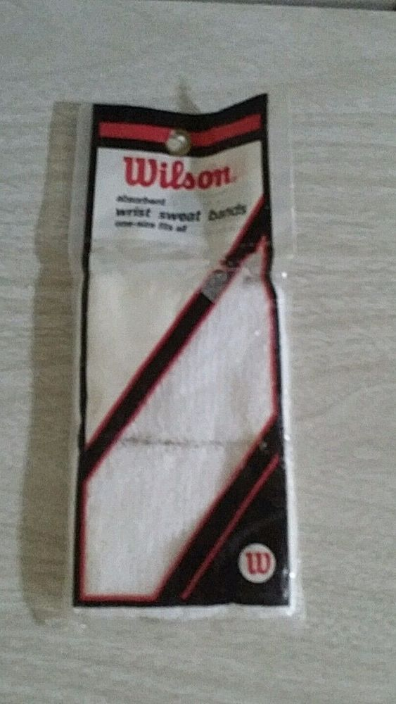 Wilson sweat bands wrist bands white terry tennis sports exercise retro 80s #Wilson