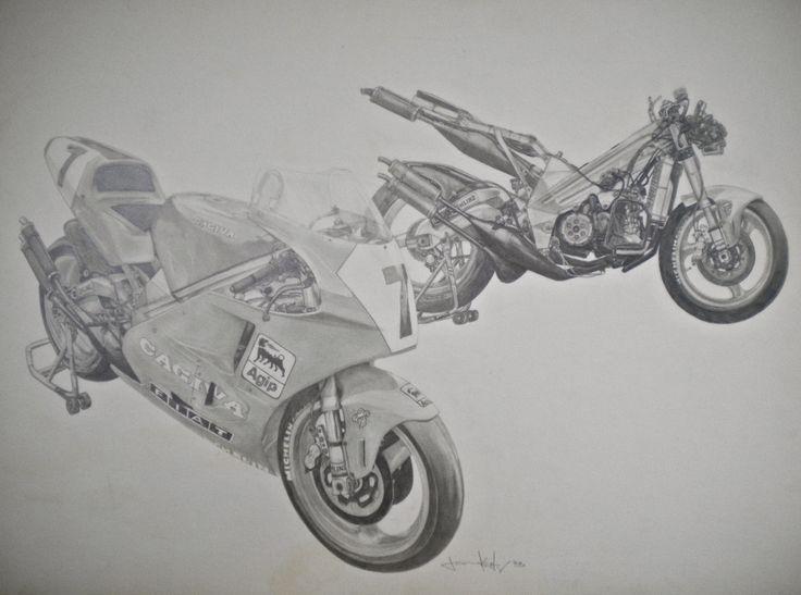Cagiva V591 GP bike 15x20 pencil drawing