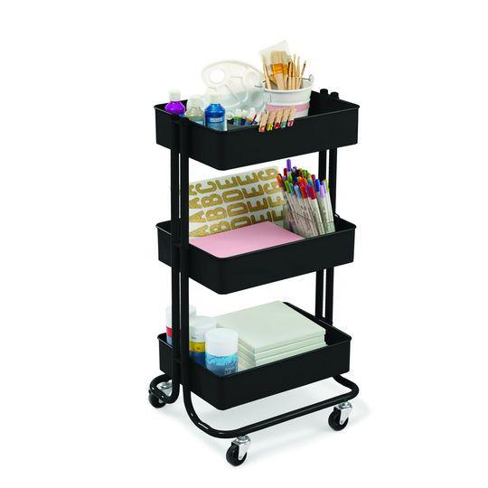 Lexington Matte Black 3-Tier Rolling Cart By Recollections™ http://www.michaels.com/m/10531334
