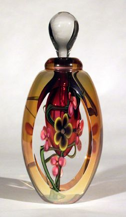 Hand blown art glass perfume bottle by Roger Gandelman