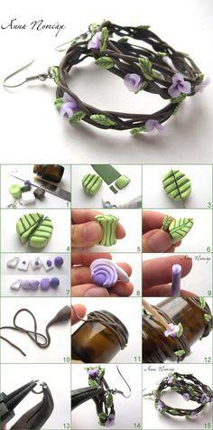 """Мастерим цветочные серьги """"Венки"""" из полимерной глины / Polymer Clay Flower Earrings Tutorial #diy #polymerclay"""