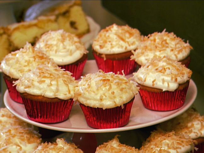 Coconut Cupcakes with Coconut Cream Cheese Frosting from FoodNetwork ...