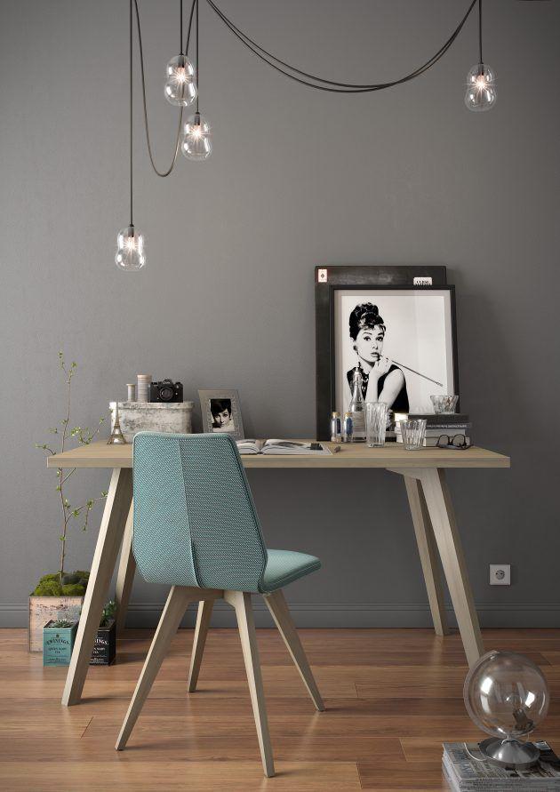 coin bureau fille feminin gris elegant mobitec mur gris dans la chambre et chaise bleu gris