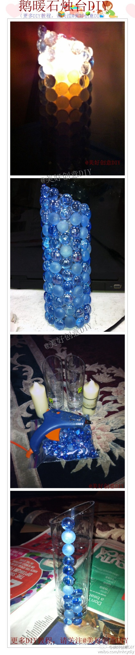 Flat glass marbles crafts - Glue Flat Glass Marbles Onto A Candle Holder They Used Hot Glue But I Would