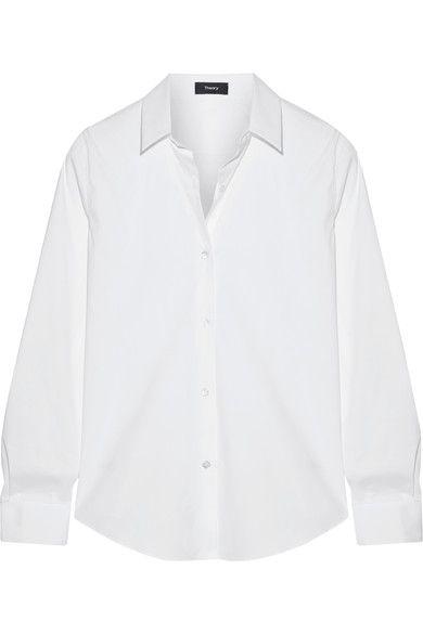 Theory - Tenia Stretch Cotton-blend Piqué Shirt - White - x small