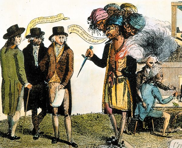 The XYZ Affair [1797-98]: In this cartoon, American envoys meet with a French diplomat, depicted as a multi-headed monster holding a dagger. The cartoonist shared the negative view of French diplomacy held by most Americans in the 1790s.  The Granger Collection, New York.