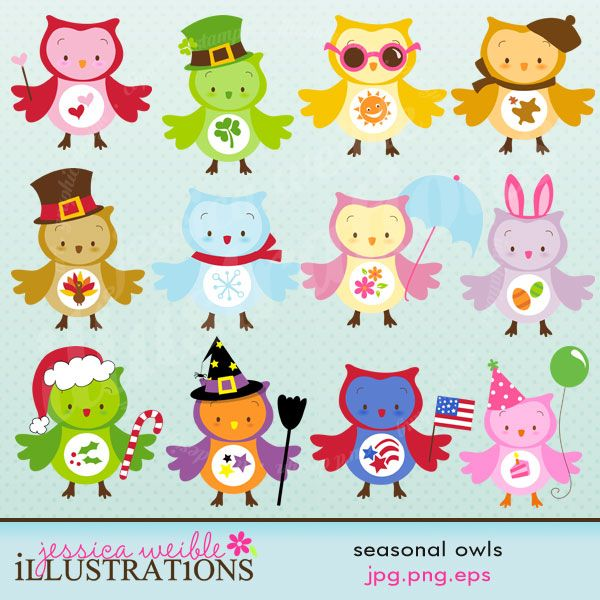 Seasonal Owls clipart set comes with 12 cute graphics including : an Autumn Owl, a Christmas Owl, an Easter Owl, a Halloween Owl, a Happy Birthday Owl, a Patriotic Owl, a Spring Owl, a St Patricks Day Owl, a Summer Owl, a Thanksgiving Owl, a Valentines Owl and a Winter Owl. Graphics are made in High Quality 300 dpi and come in JPG, PNG & EPS format.
