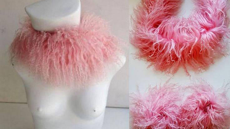 Snood Schal Pelzkragen Damenschal Tibetlamm + Pelzmanschetten rosa Echtpelz Set  | eBay