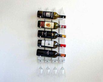 Wine Rack-Wall Mounted Wine Rack Vertical Wine by AdliteCreations